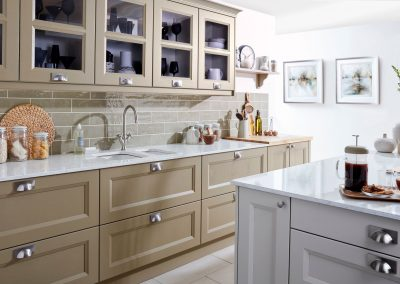 Trim Centre Panelled Kitchen In B Painted Putty & Cha Island.