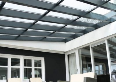 Two Tone Black Steel & White Decor Canopy With Solar Optional.
