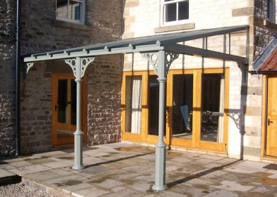 Veranda Canopy In Powder Painted Grey.