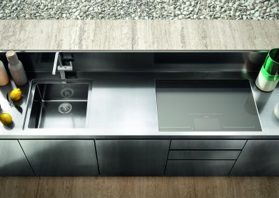 Worktop Birds Eye View Of Stainless Steel Patio Kitchen.