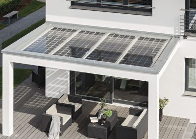 Modern Solar Steel Canopy In White.
