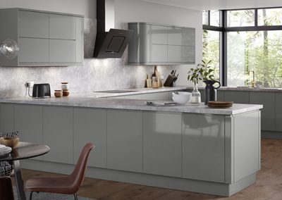 U Kitchen Design In Gloss Light Grey.