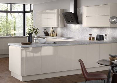 U Shape Kitchen In Gloss Cream, White Or Clients Choice Of Colour.