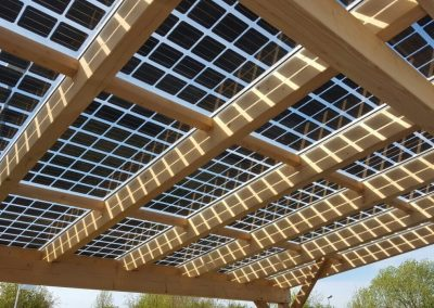 Close Up View Of Timber Solar Canopy.