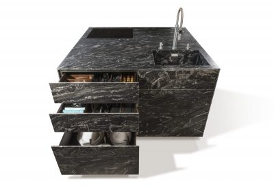Credenza Leather Stone Triple Drawer Design.
