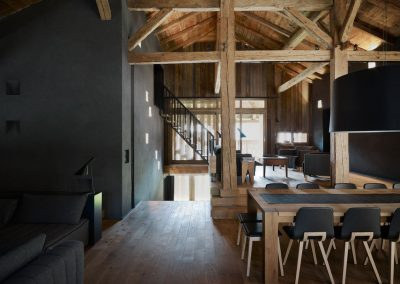 Traditional Barn Conversion Living Space Design With Exposed Timbers Beams.