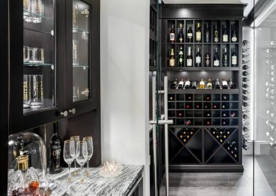 Basalt Grey & Black Cabinetry Bar Design Wine Storage.