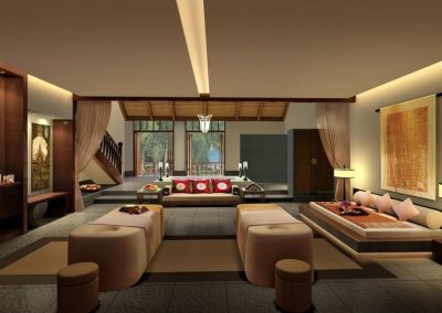 CAD Design Of Contemporary Living Space With Japanese Influenced Lounging.