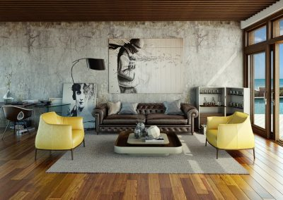 Lounge Design Matching To Distressed Wall & Walnut Timbers.