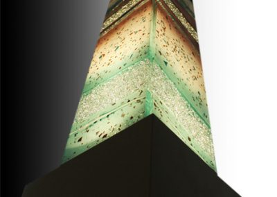 Glass Light Tower In Emerald Earth , Tan & Chocolate.