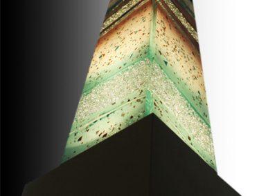 Glass Light Tower In Emerald Earth , Tan & Chocolate.