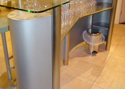 Glass & Steel Curved Bar Design.