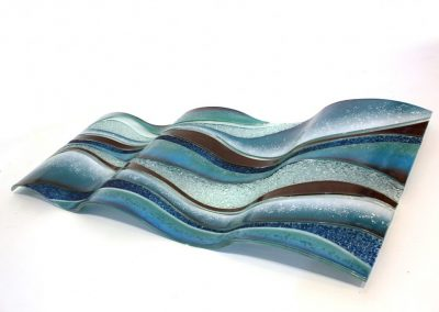 Glass Wave Art In Sky & Tan.