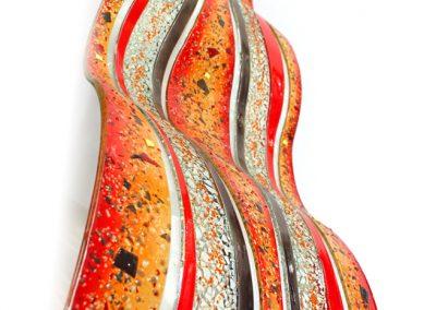 Glass Wave Art In Tangerine, Red Pepper & Tan Portrait.