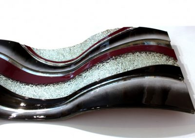 Glass Wave Art In Violet, Black & White Close Up Image.