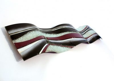 Glass Wave Art In Violet, Black & White.
