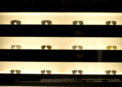 Close Up Up Image of Sunglasses Display.