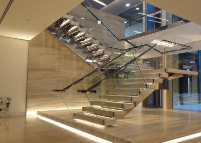 Modern Building Glass & Timber Staircase.