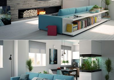 Sho Sugi Ban Wall, Feature Fireplace With Turquoise & White.