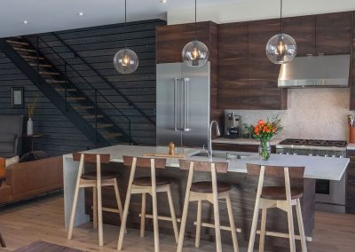 Shou Sugi Ban Dark Char Cladded Living & Kitchen Space .