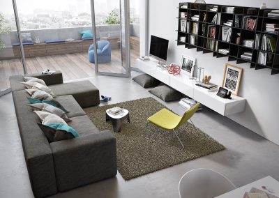 Small Apartment Living Design With Patio.