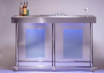 Steel & Blue Glass Home Bar Design Front Image