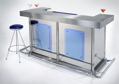 Steel & Blue Glass Home Bar Design Profile Image