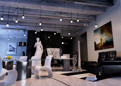 Studio Design With Exposed Beam.
