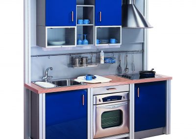 Steel Framed Kitchen In Blue.