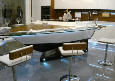 Resin, Corian Boat Kitchen & Bar Design.