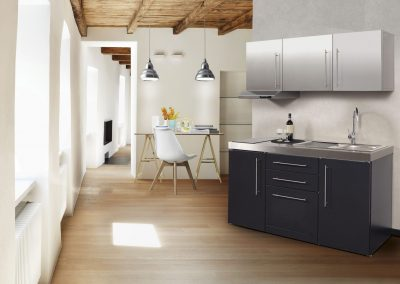 Black & White Combination Micro Steel Kitchen Design.