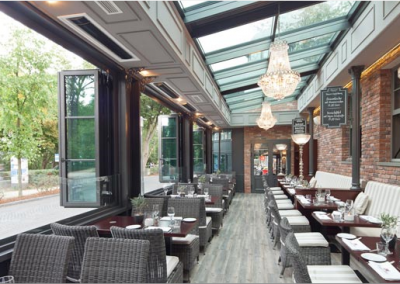 Hotel Conservatory Restaurant Design & Heating Installation.