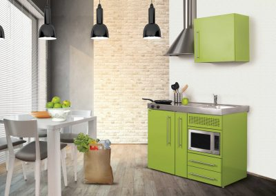 Micro Apartment 1200 mm Steel Micro Kitchen In Lime.