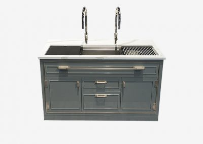 Platinum Credenza Kitchen With Antique Silver Door Main Image.