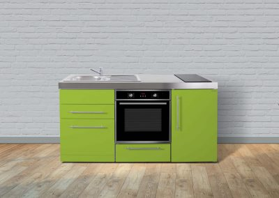 Stainless Steel Micro Kitchen in Lime Front Shot.
