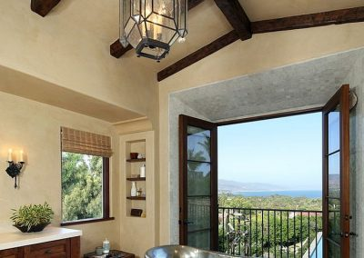 Themed Mediterranean Bathroom Juliet Balcony View.
