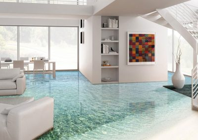3D Lounge Water Effect Resin Flooring.
