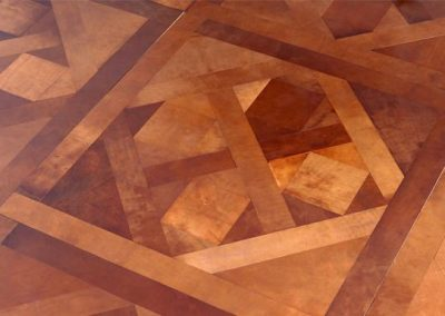Leather French Parquet Tan Flooring.