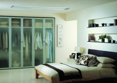 Aluminium Glazed Slider Wardrobe & Bedroom Design.