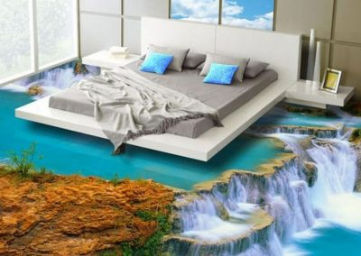 Bedroom Design on Waterfall 3D Resin Flooring.