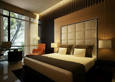 Bedroom With Subtle Shades & Lighting.