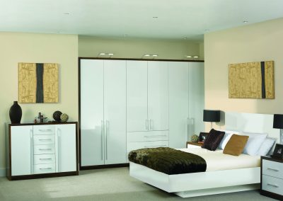 High Gloss White & Walnut Trim Suite.