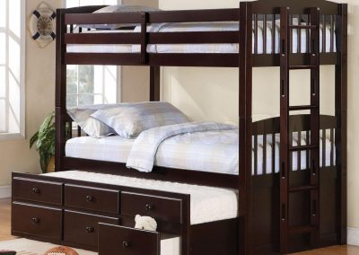 Bunk bed Designed With Pull Out Storage.