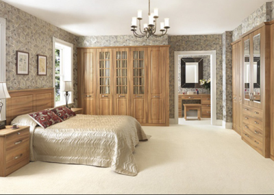 Classic Bedroom Wood Grain Finish & Glass.