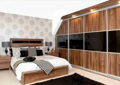 Gloss Veneer Sliding Door Storage & Bedroom Design.
