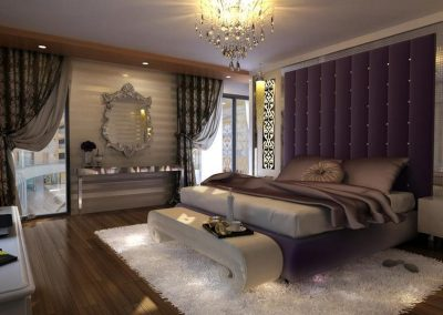 Luxury Bedroom Design With Violet Finishes.