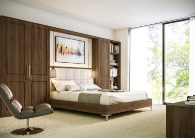 Walnut Grained Double Panel Bedroom Suite.