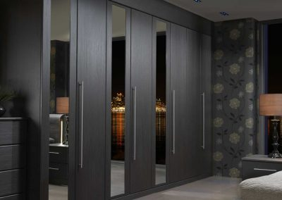 Painted Grey Mirrored Bedroom Design.