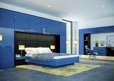 Contemporary Baltic Blue & Black Bedroom Suite.