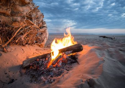 Sitting To The Side Of A Burning Fire Gives Off Radiant Infrared Heat.